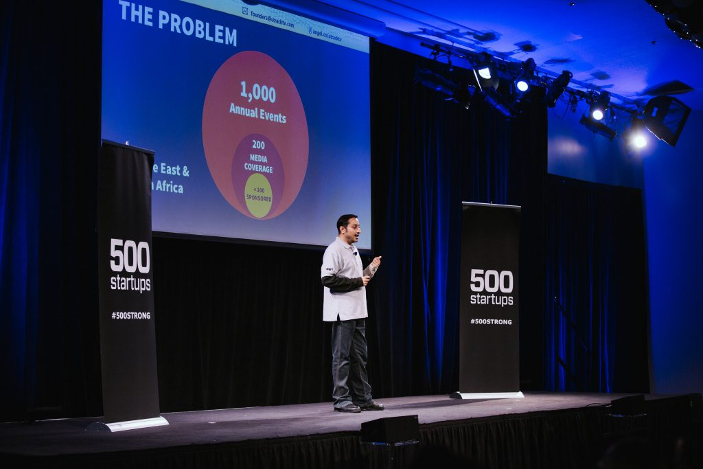 Hasan ALDOY - Founder of uTrack TV at 500 Startups Demo Day, San Francisco